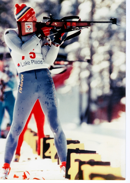 Competing at the World Biathlon Team Trials, 1986