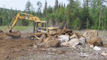 Allen clearing for the barn, 2006