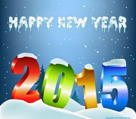 Happy New Year 2015 With Stylish Colorful Text And Snow