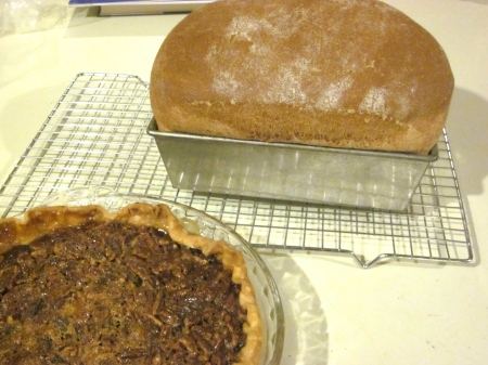 last night's 100% whole wheat sour milk bread and pecan pie